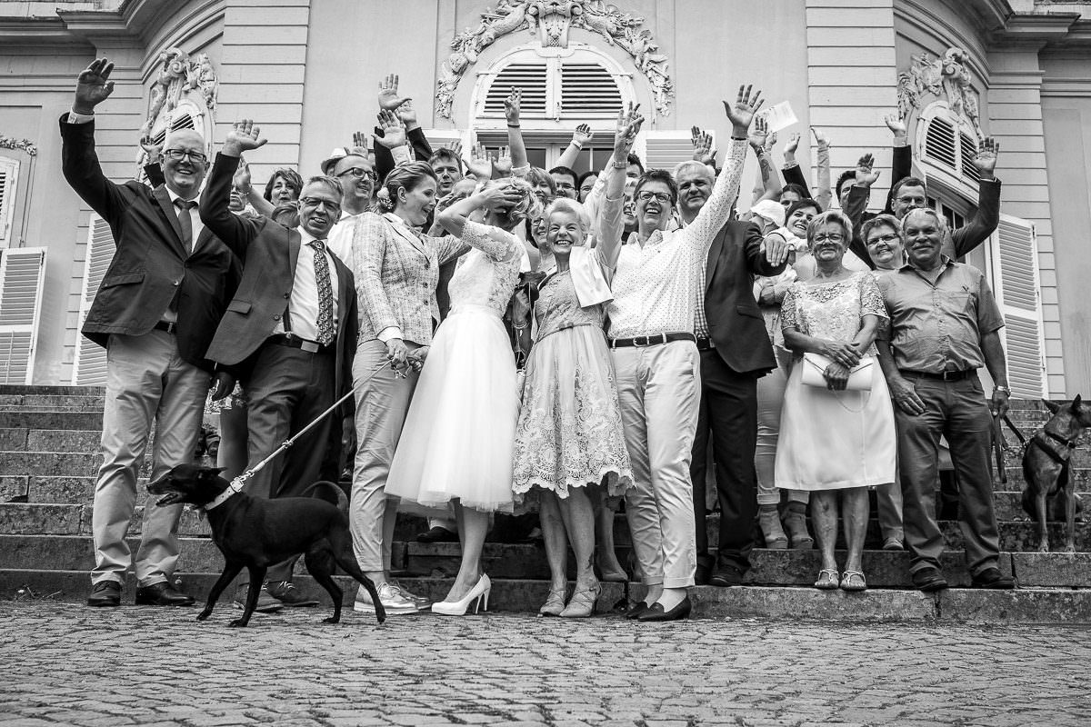 Gruppenfotos Hochzeit Schloss Benrath