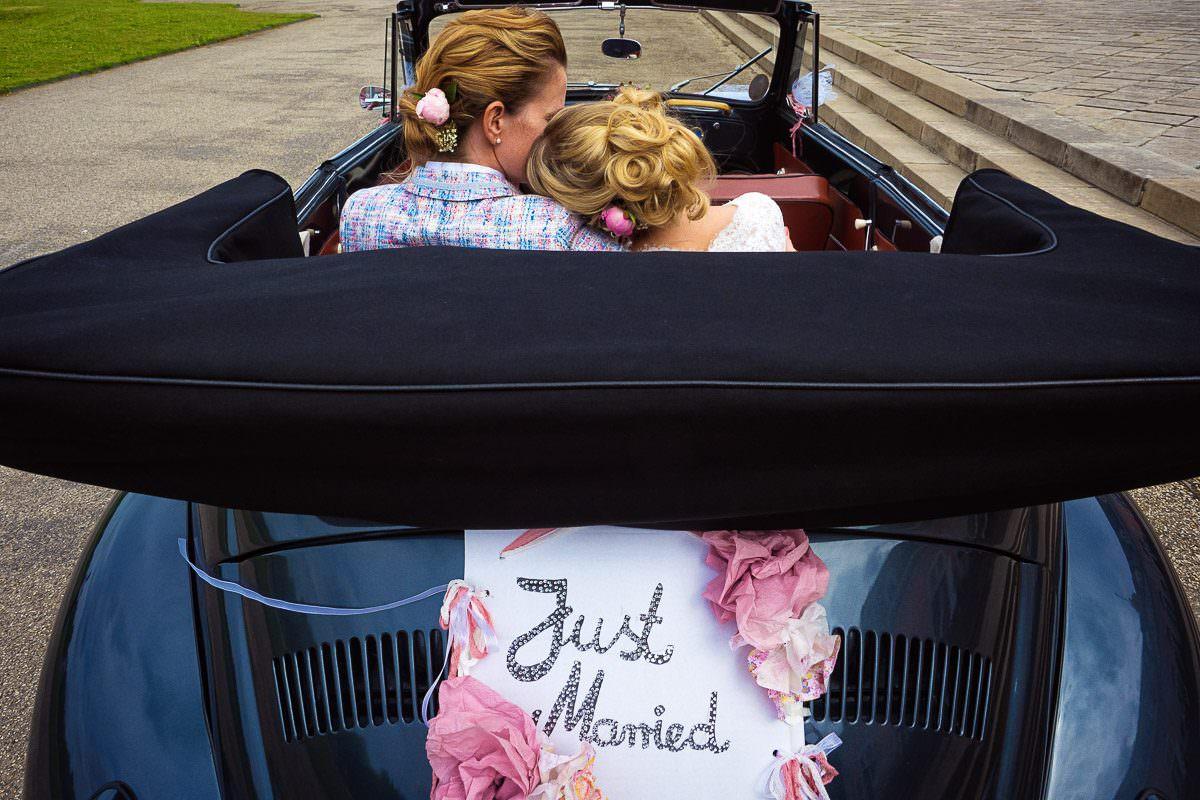 Just Married Deko Auto mit Hochzeitsfotograf