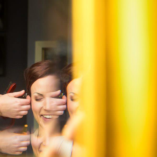 Hochzeitsmakeup mit Spiegel