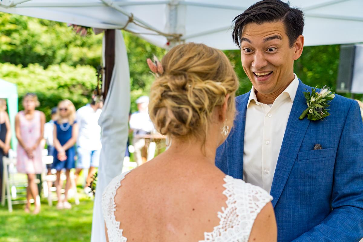 Jawort bei freier Trauung mit Hochzeitsfotograf Duesseldorf